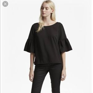 FRENCH Connection. Black bell sleeve blouse S.M